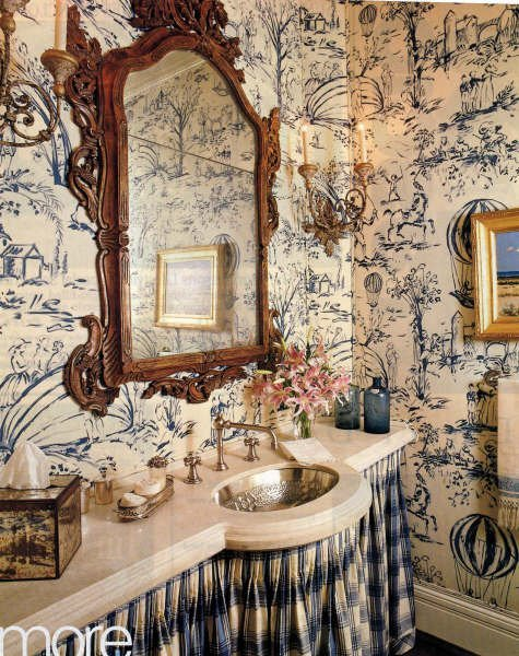 blue toile bath