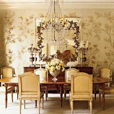 Wallpaper is back southern hospitality - Dining room wallpaper accent wall ...