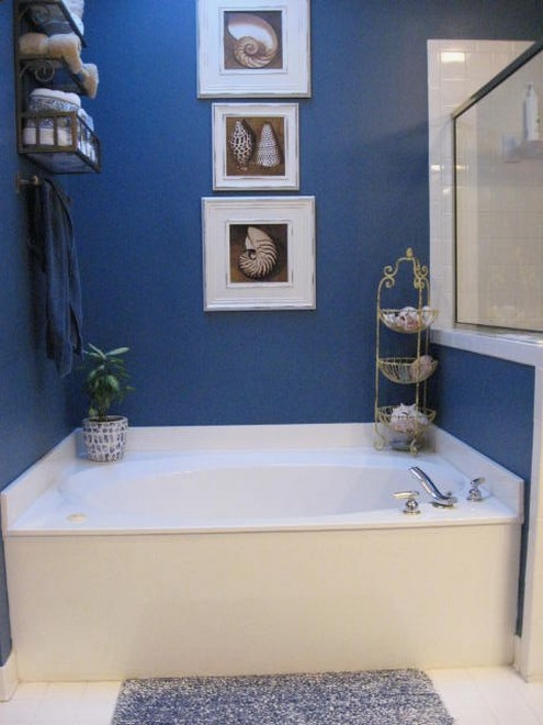 Navy Blue And Coral Bathroom