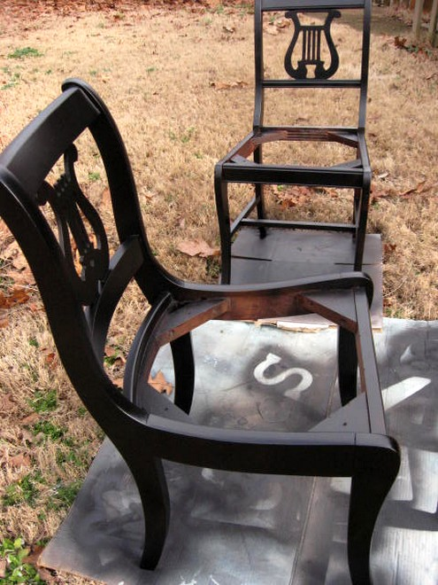 After drying about 10 minutes, the chairs are ready for their spray paint  debut. Try to spray evenly with minimal drips. If it does start to drip, ...