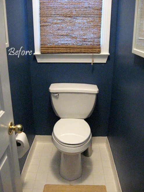 Beadboard wallpaper in masterbath southern hospitality for Navy bathroom wallpaper