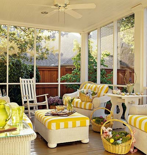 Porch dreaming southern hospitality for Enclosed porch furniture ideas