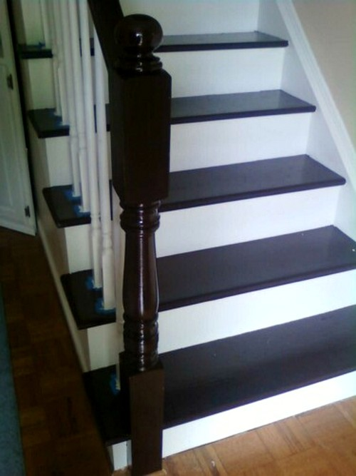 Feature friday nicki 39 s stairs southern hospitality - Painting wooden stairs white ...