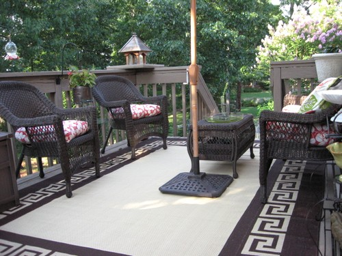 I found this 8×10 outdoor rug at Old Time Pottery for $80. Quite a good  deal on a big rug like this. I loved the Greek key border and the cream and  ... - Deck Love: Top 5 Ways To Create A Cozy Porch - Southern Hospitality