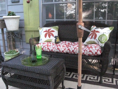 I potted some plants to bring some color and greenery to the porch. Those  cushions were found at Homegoods and I mentioned that I won a $50 giftcard. - Deck Love: Top 5 Ways To Create A Cozy Porch - Southern Hospitality