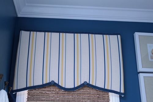 DIY cornice using foamcore and fabric