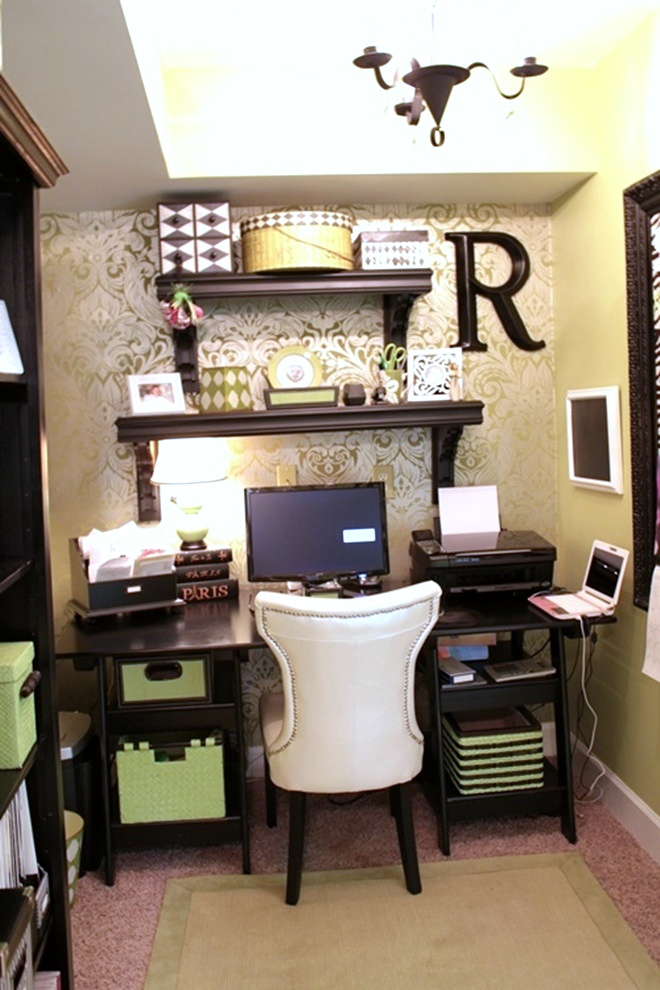 Wallpapered office nook southern hospitality - Home office ideas for small spaces ...