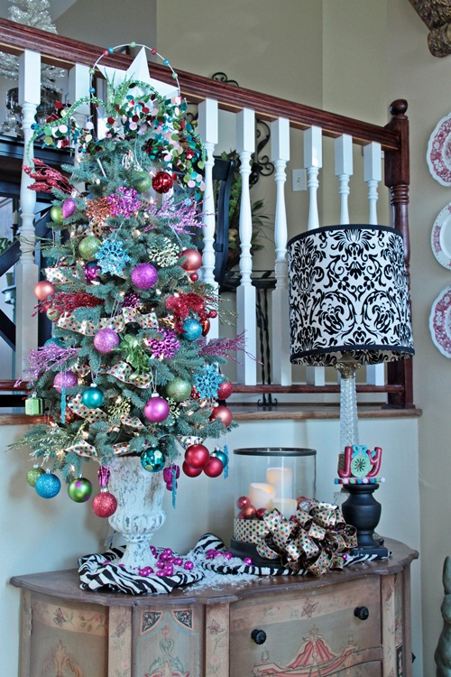 Colorful christmas in the foyer southern hospitality
