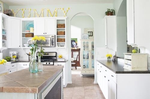 White Kitchen Aqua Accents modern kitchen paint colors: pictures & ideas from hgtv | hgtv