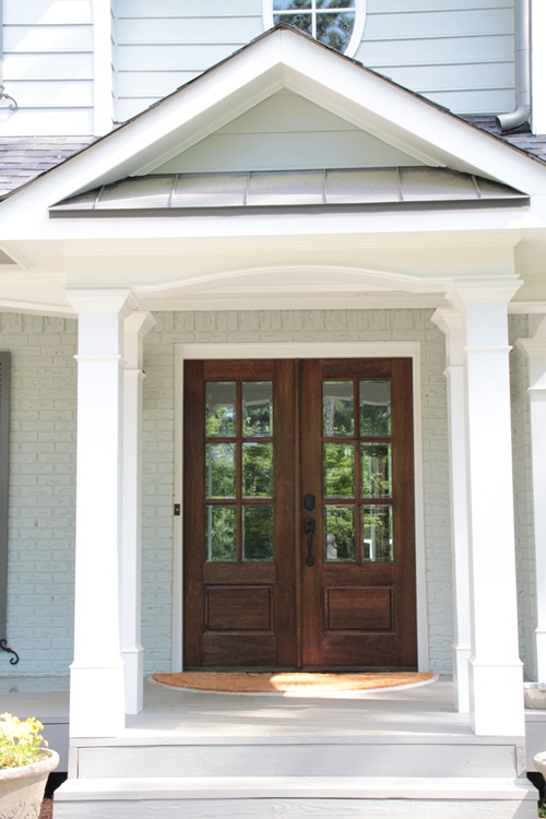 Feature friday lori may interiors southern hospitality for Exterior front double doors