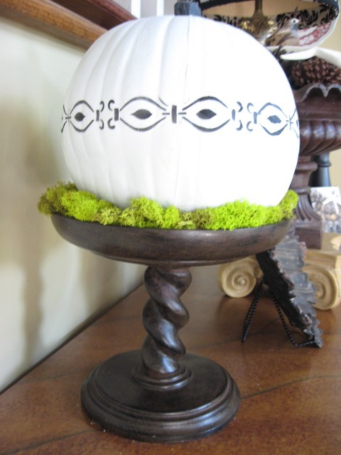stenciled white pumpkin