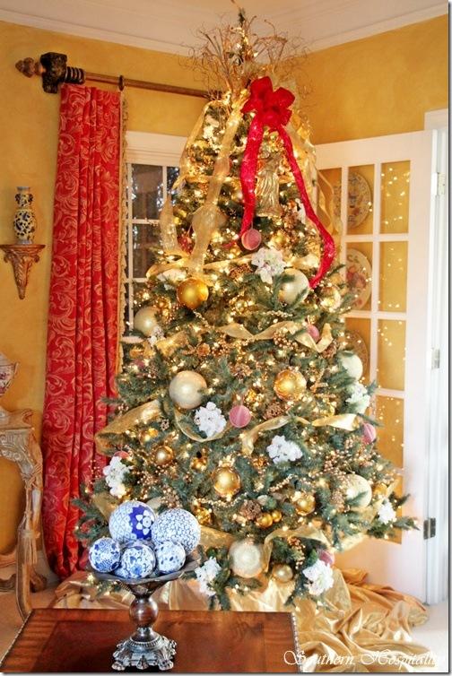 Christmas tree lit