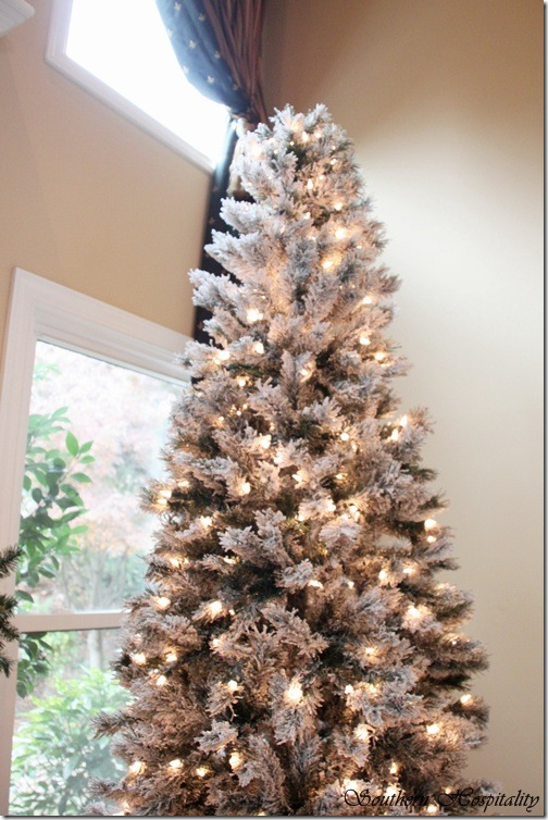 merry christmas a white and silver christmas tree southern hospitality - Decorated Flocked Christmas Trees