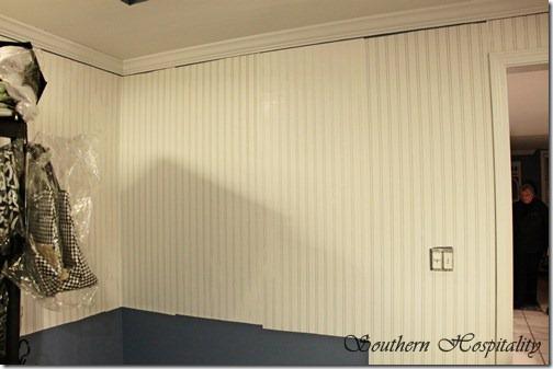 Beadboard wallpaper up