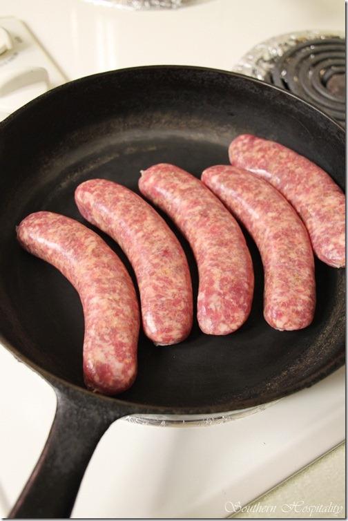 Italian sausage cooking