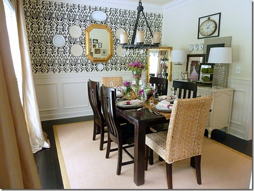 dining room with stencil