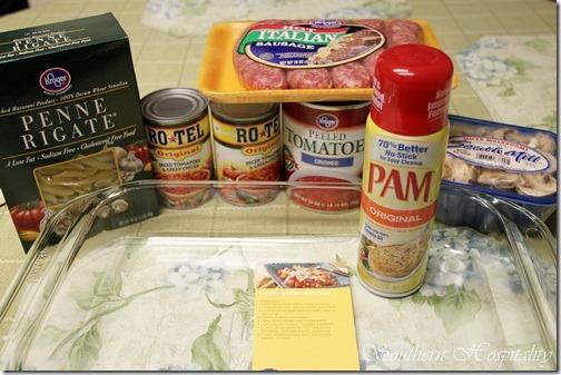 ingredients for pasta bake