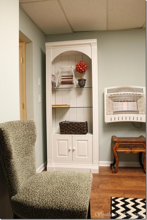 white bookcase craftroom