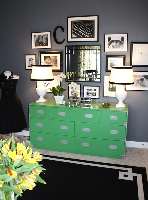 my blog friend emily painted this campaign dresser for her office in a springy green and it is a great mix for her space i cant wait to see what she bright painted furniture