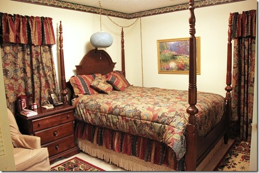 With the border  dark drapes and bedding  along with the dark furniture   their bedroom had an overall dark feeling  even with the light color on the  walls. My Parents  New   Improved Bedroom    Southern Hospitality
