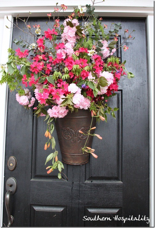 Fresh spring floral door bucket southern hospitality for Front door decor