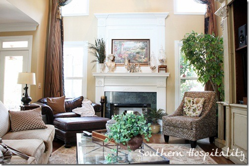 Renee Familyroom My Sister S Spring Mantel Southern Hospitality Decorating Fireplace Mantels With High Ceilings
