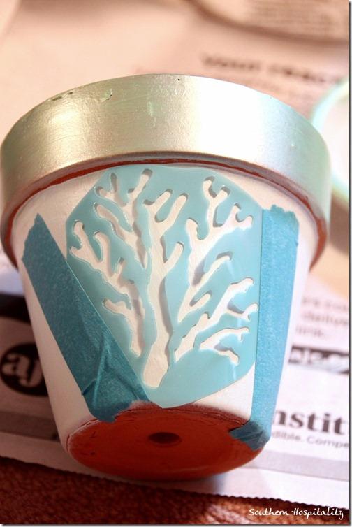 Coral stencil clay pot