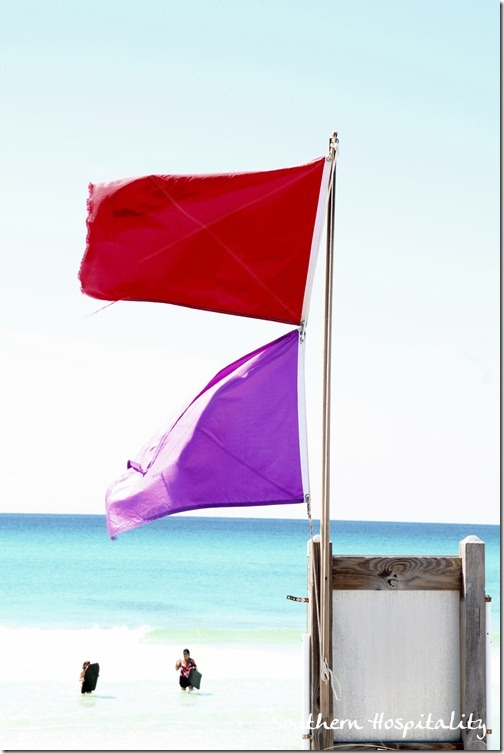red flags on beach