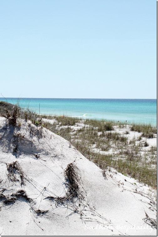 white sand water