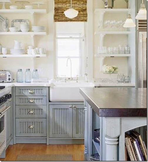 Farms house cottages style cottages kitchens cabinets for Grey blue white kitchen