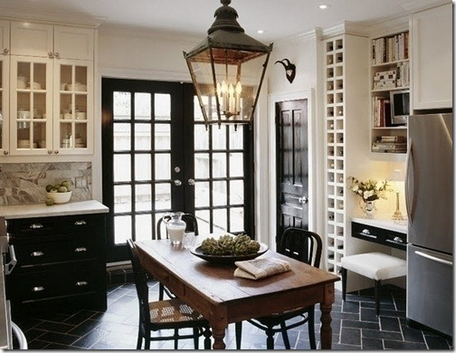 (via Decorpad). This dramatic black kitchen French doors ...