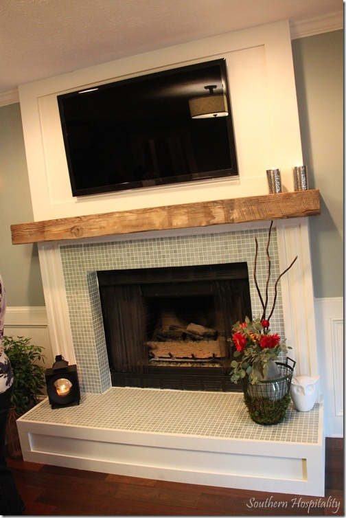 Feature friday the lettered cottage makeover house - Tiling a brick fireplace ...
