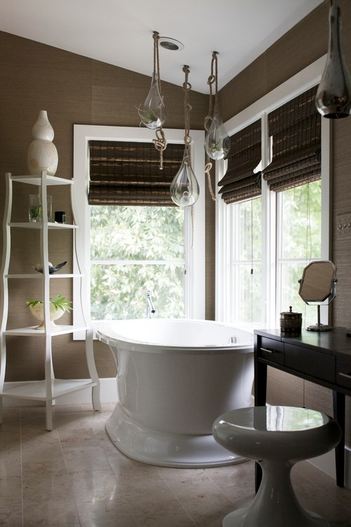 Designer Bathroom Blinds bamboo roman blinds