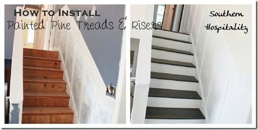 Before and After painted pine stairs