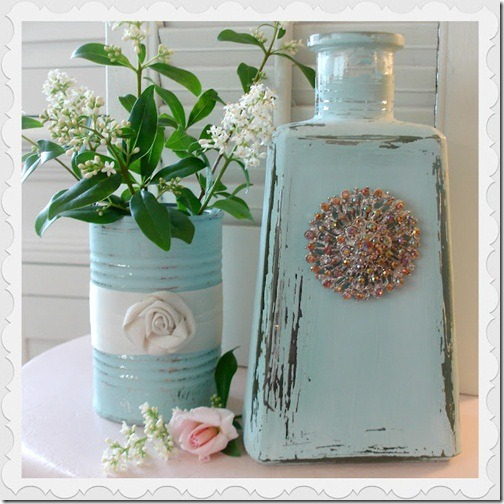 aqua bottle jar chalk paint home decor DIY 33