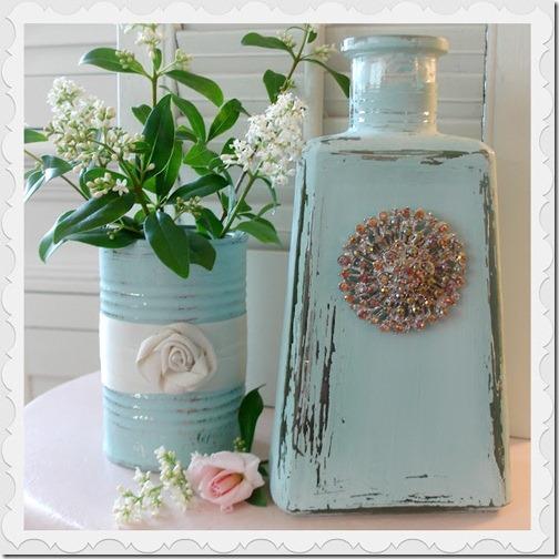 aqua bottle jar chalk paint home decor DIY 33