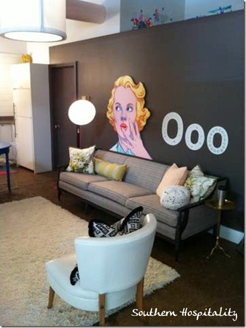 living room space with Marilyn pic