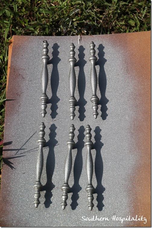 Spray Painted Hardware Rustoleum Satin Nickel