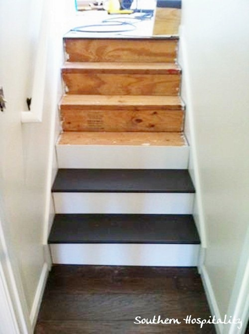 Painted stairs and adding runners southern hospitality for Painted stair treads