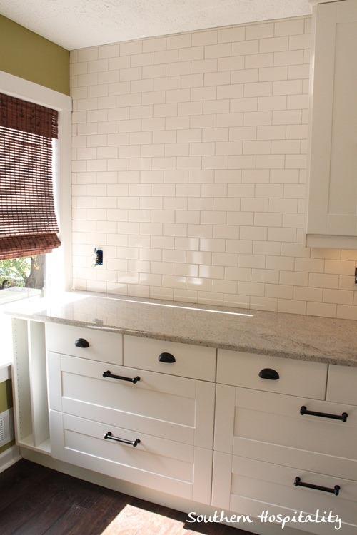 White Subway Tile Backsplash With Gray Grout