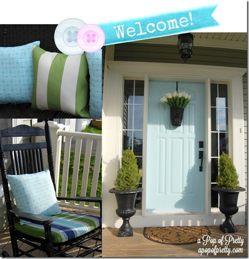 Cottage-Style-Front-Porch-with-Light-Turquoise-Door-A-Pop-of-Pretty1-985x1024