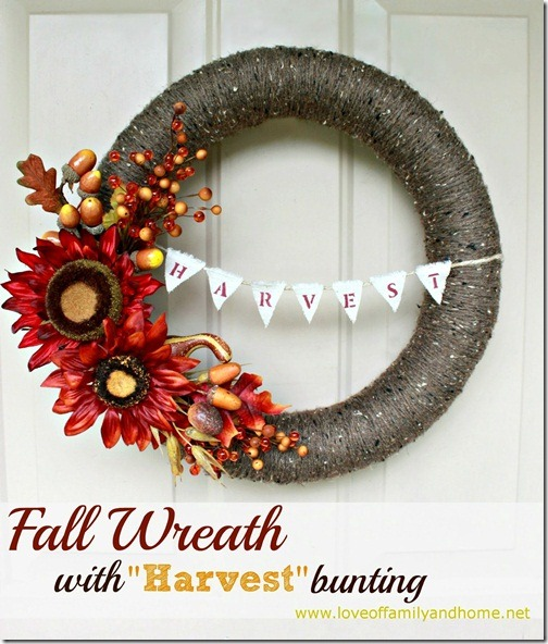 DIY Fall Yarn Wreath With Bunting 128