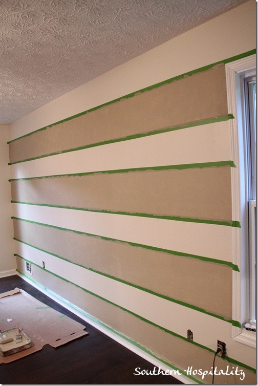 Gingham paint treatment using frogtape for Painting stripes on walls in kids room