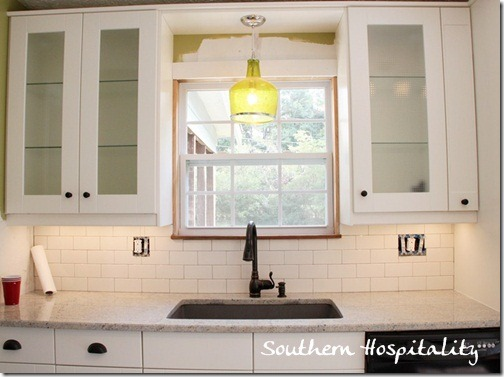 subway tile with gray grout