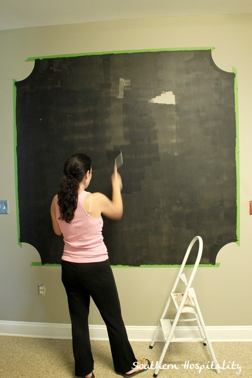making a chalk board wall with frogtape. Black Bedroom Furniture Sets. Home Design Ideas