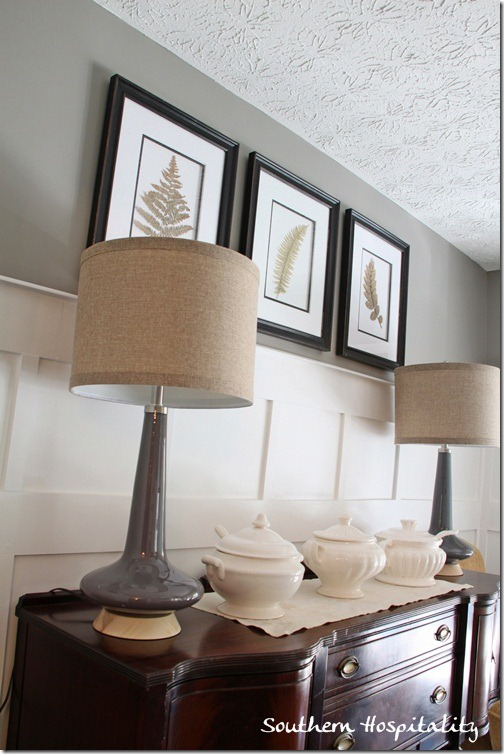 lamps on sideboard