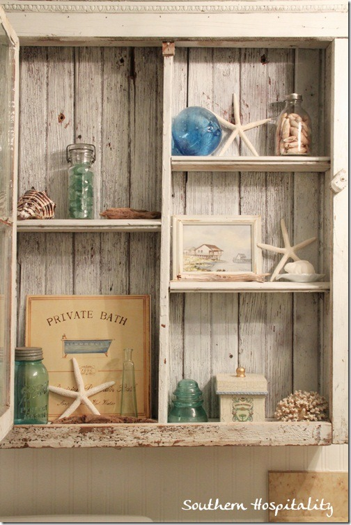 shabby cabinet shelves
