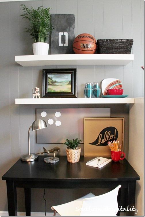 shelves in lounge