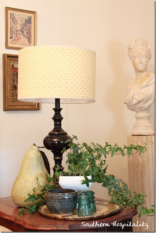 table lamp and plant