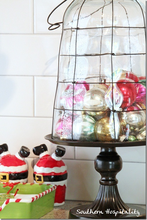 cloche with vintage ornaments
